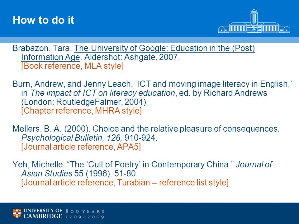 How to do it Brabazon, Tara. The University of Google: Education in the (Post) Information Age.