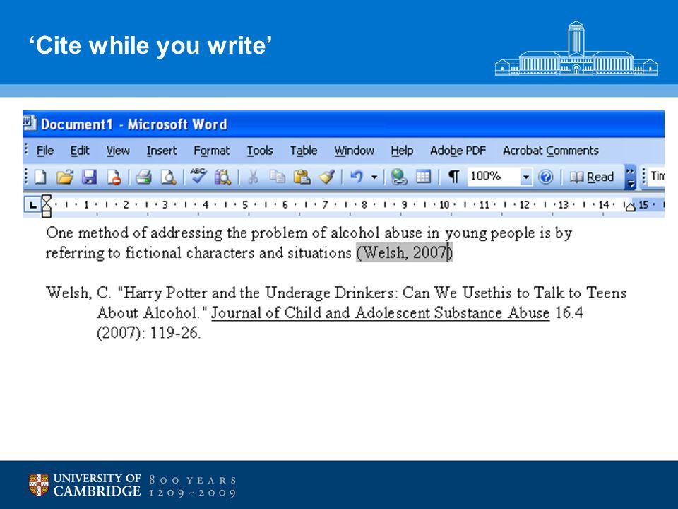 'Cite while you write'