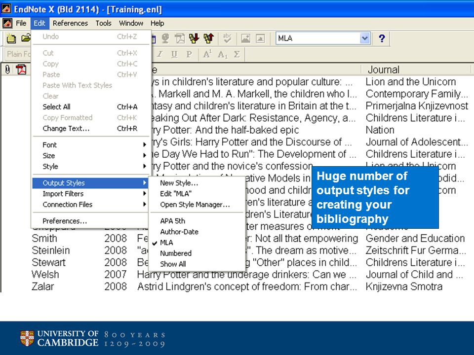 Huge number of output styles for creating your bibliography