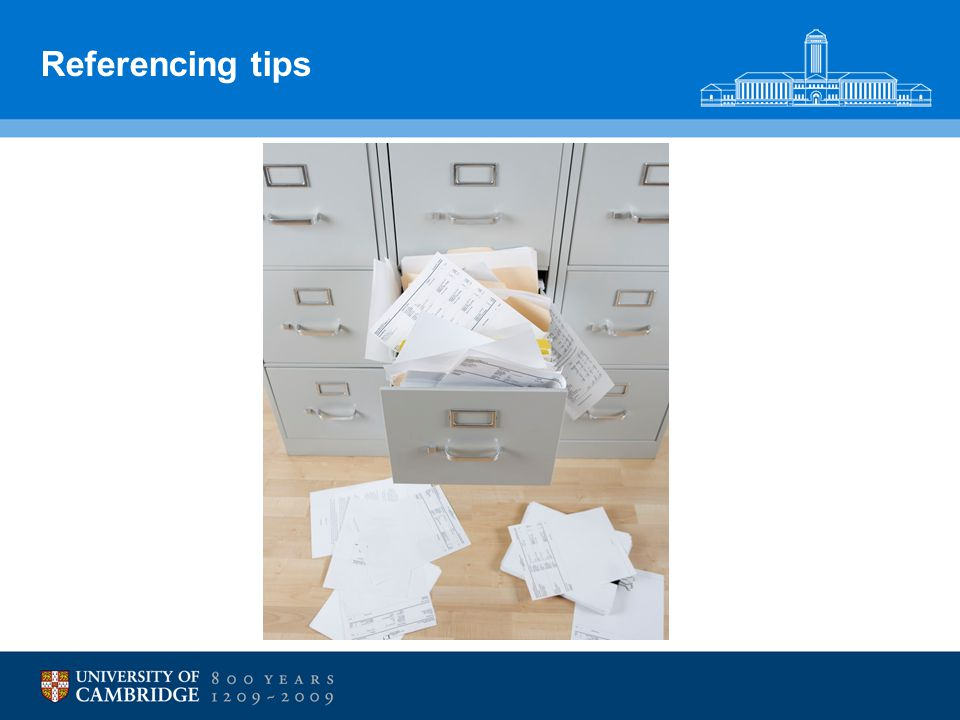 Referencing tips