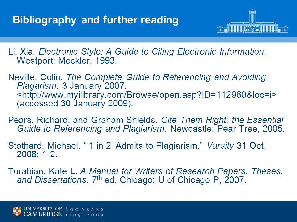 Bibliography and further reading Li, Xia.