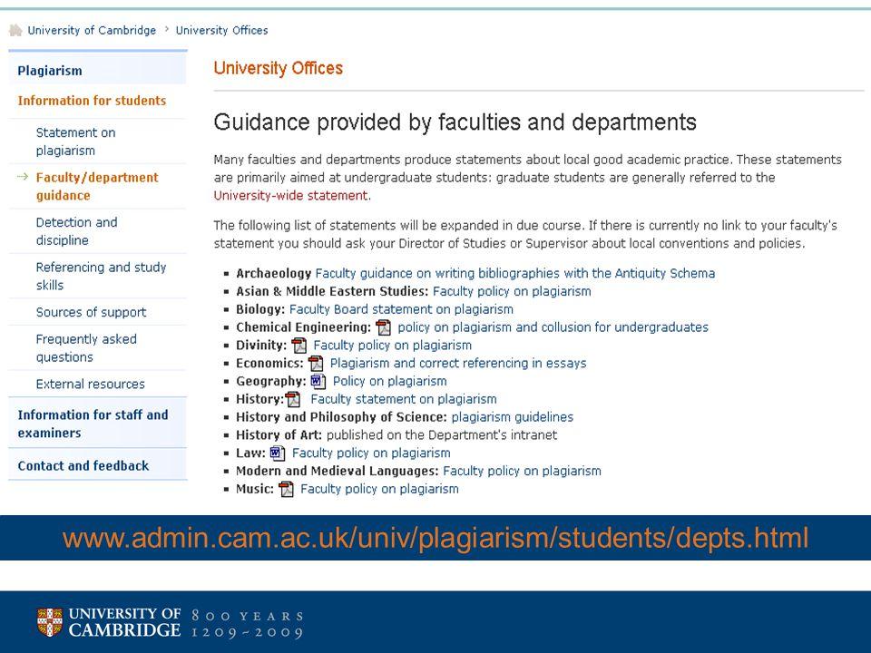 www.admin.cam.ac.uk/univ/plagiarism/students/depts.html