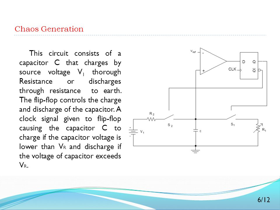 Chaos Generation This circuit consists of a capacitor C that charges by source voltage V 1 thorough Resistance or discharges through resistance to ear