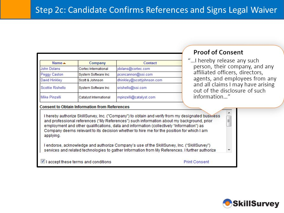 """Step 2c: Candidate Confirms References and Signs Legal Waiver Proof of Consent """"…I hereby release any such person, their company, and any affiliated o"""