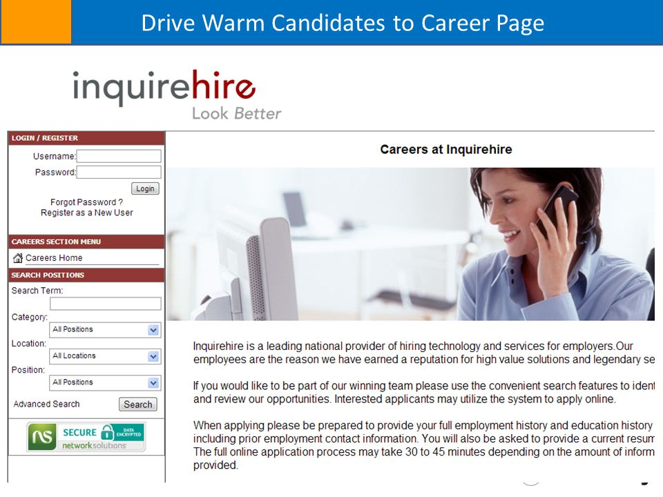 Drive Warm Candidates to Career Page