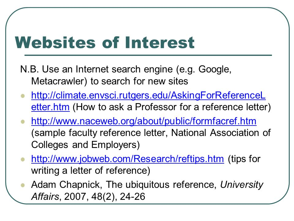 Websites of Interest N.B. Use an Internet search engine (e.g.