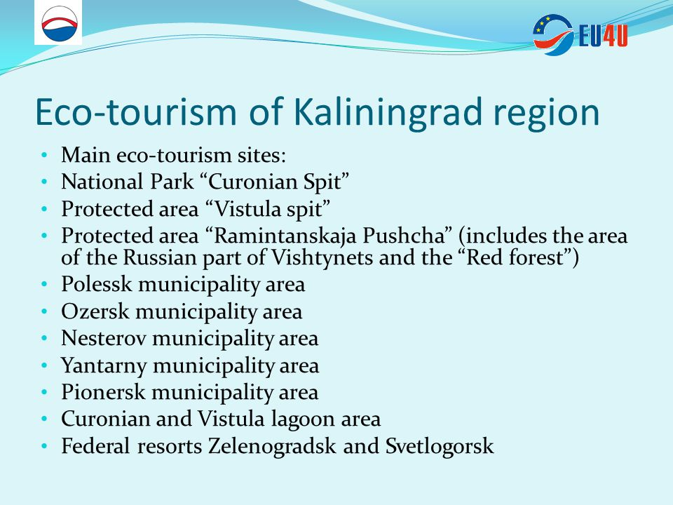 Social and cultural potential of Kaliningrad region for sustainable tourism development Historical monuments: - Lutheran church of the Holy Family (1904, arch.