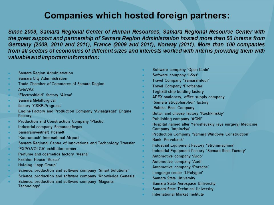 Companies which hosted foreign partners: ●Software company 'Open Code' ●Software company 'I-Sys' ●Travel Company 'SamaraIntour' ●Travel Company 'Profc