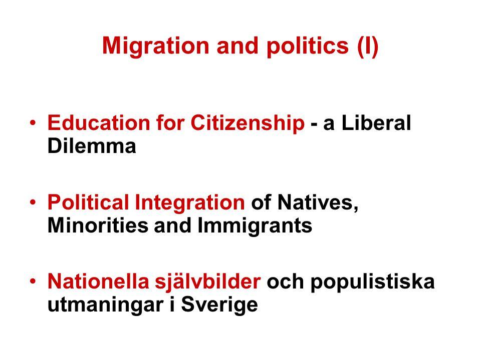 Migration and politics (I) Education for Citizenship - a Liberal Dilemma Political Integration of Natives, Minorities and Immigrants Nationella självbilder och populistiska utmaningar i Sverige