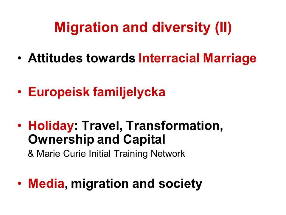 Migration and diversity (II) Attitudes towards Interracial Marriage Europeisk familjelycka Holiday: Travel, Transformation, Ownership and Capital & Ma