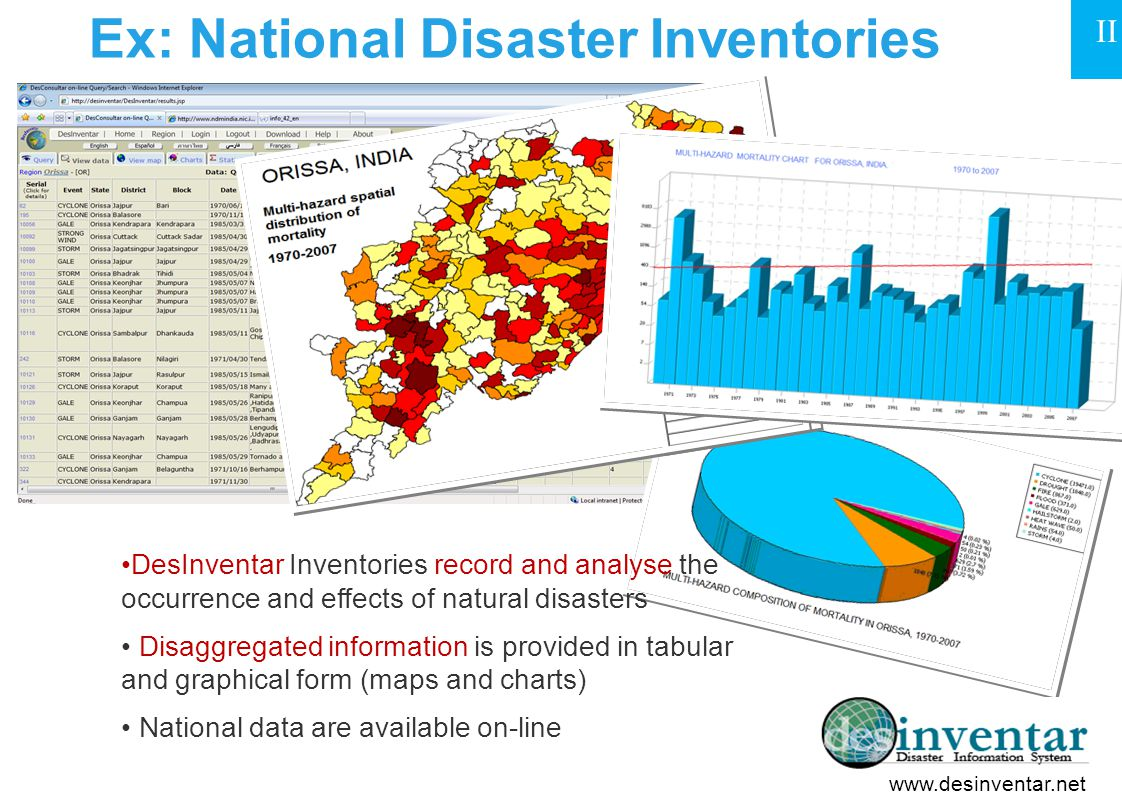 Ex: National Disaster Inventories DesInventar Inventories record and analyse the occurrence and effects of natural disasters Disaggregated information