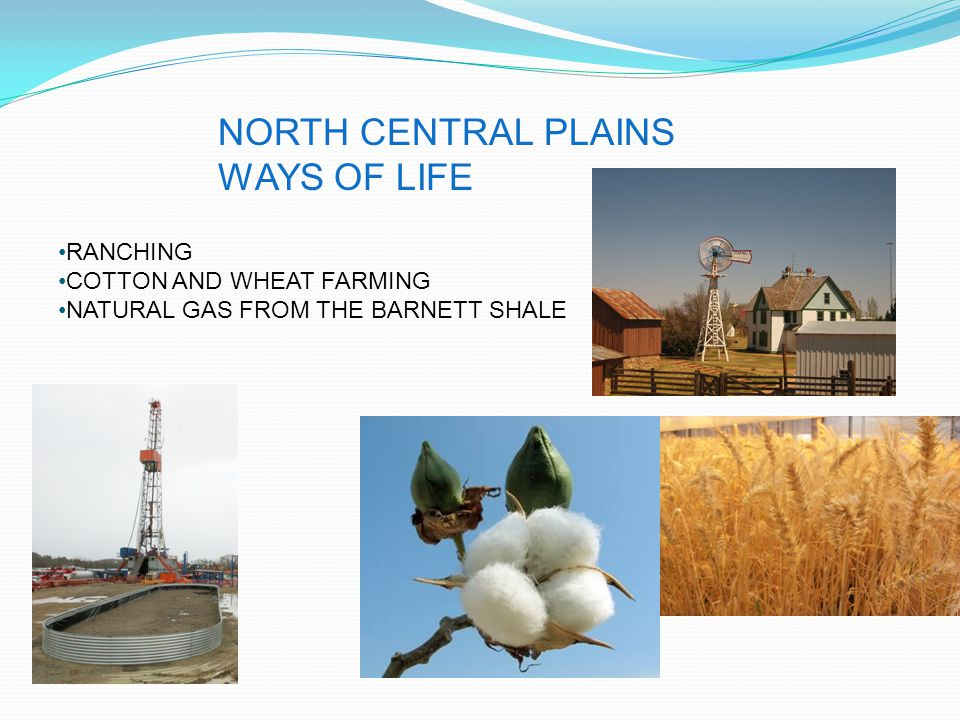 NORTH CENTRAL PLAINS WAYS OF LIFE RANCHING COTTON AND WHEAT FARMING NATURAL GAS FROM THE BARNETT SHALE