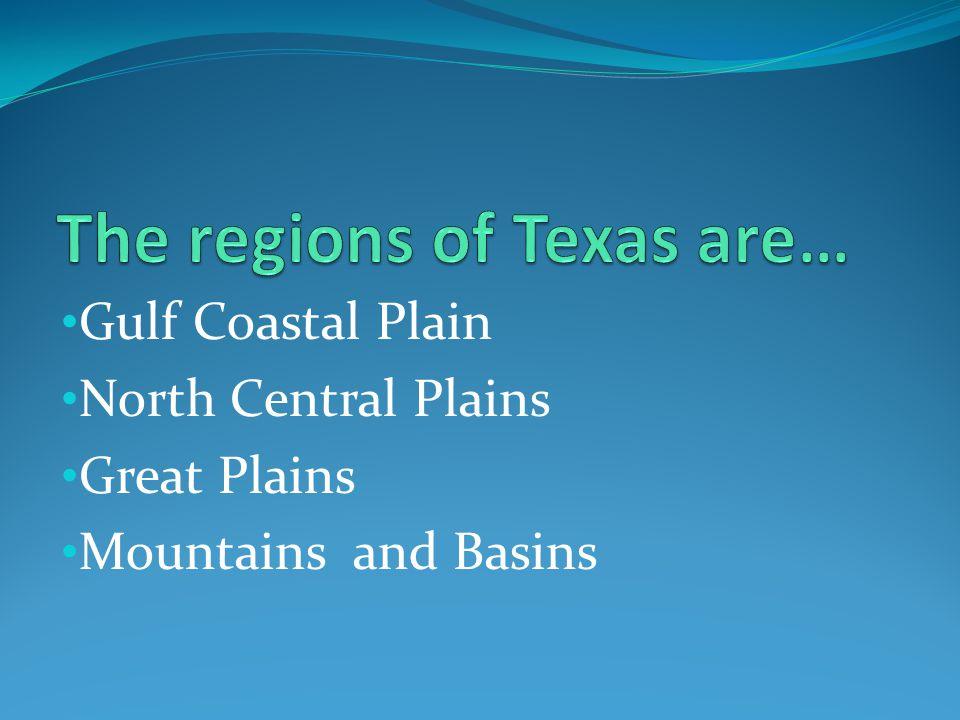 Gulf Coastal Plain North Central Plains Great Plains Mountains and Basins
