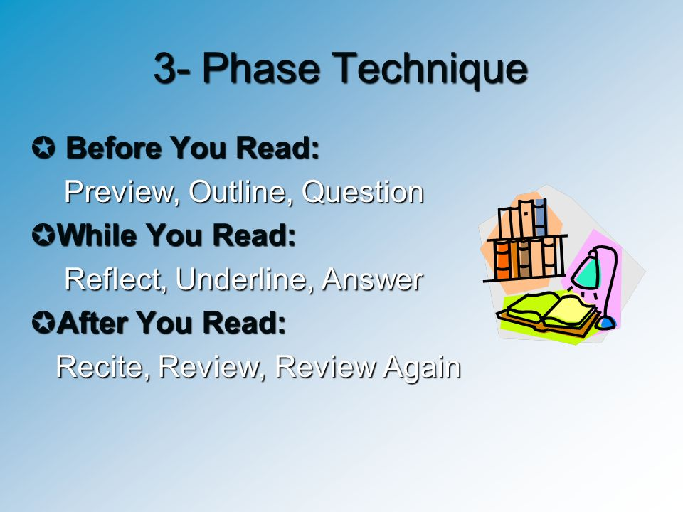 3- Phase Technique  Before You Read: Preview, Outline, Question Preview, Outline, Question  While You Read: Reflect, Underline, Answer Reflect, Unde