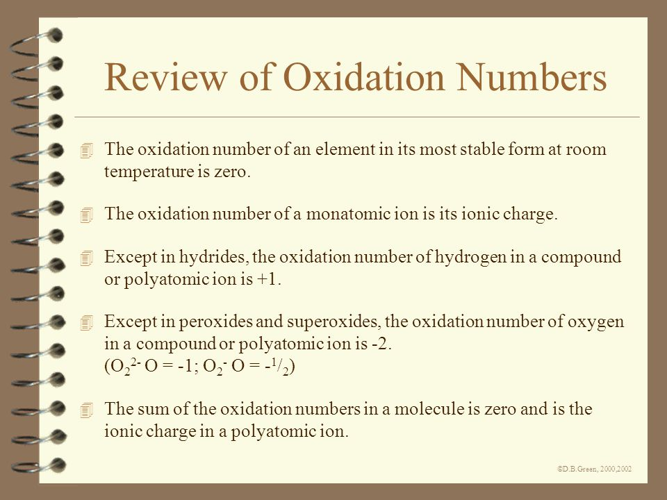 ©D.B.Green, 2000,2002 Review of Oxidation Numbers 4 The oxidation number of an element in its most stable form at room temperature is zero.