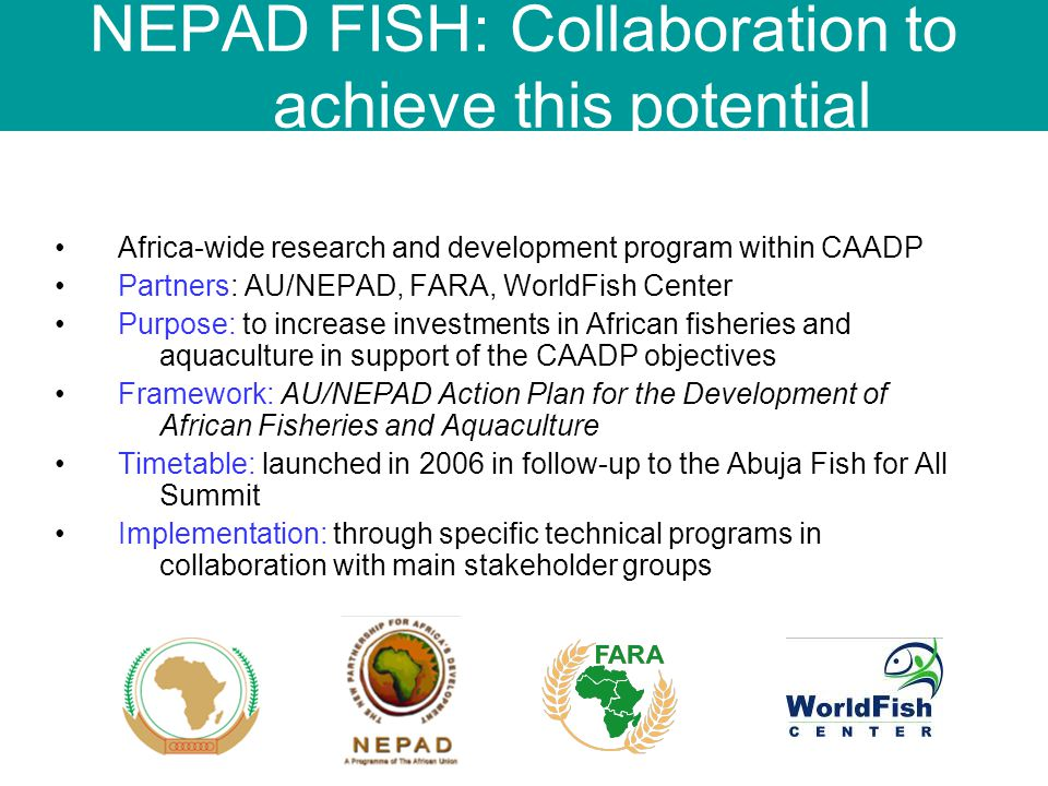 Africa-wide research and development program within CAADP Partners: AU/NEPAD, FARA, WorldFish Center Purpose: to increase investments in African fisheries and aquaculture in support of the CAADP objectives Framework: AU/NEPAD Action Plan for the Development of African Fisheries and Aquaculture Timetable: launched in 2006 in follow-up to the Abuja Fish for All Summit Implementation: through specific technical programs in collaboration with main stakeholder groups NEPAD FISH: Collaboration to achieve this potential