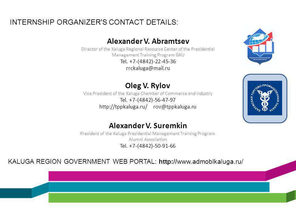 Alexander V. Abramtsev Director of the Kaluga Regional Resource Center of the Presidential Management Training Program GKU Tel. +7-(4842)-22-45-36 rrc