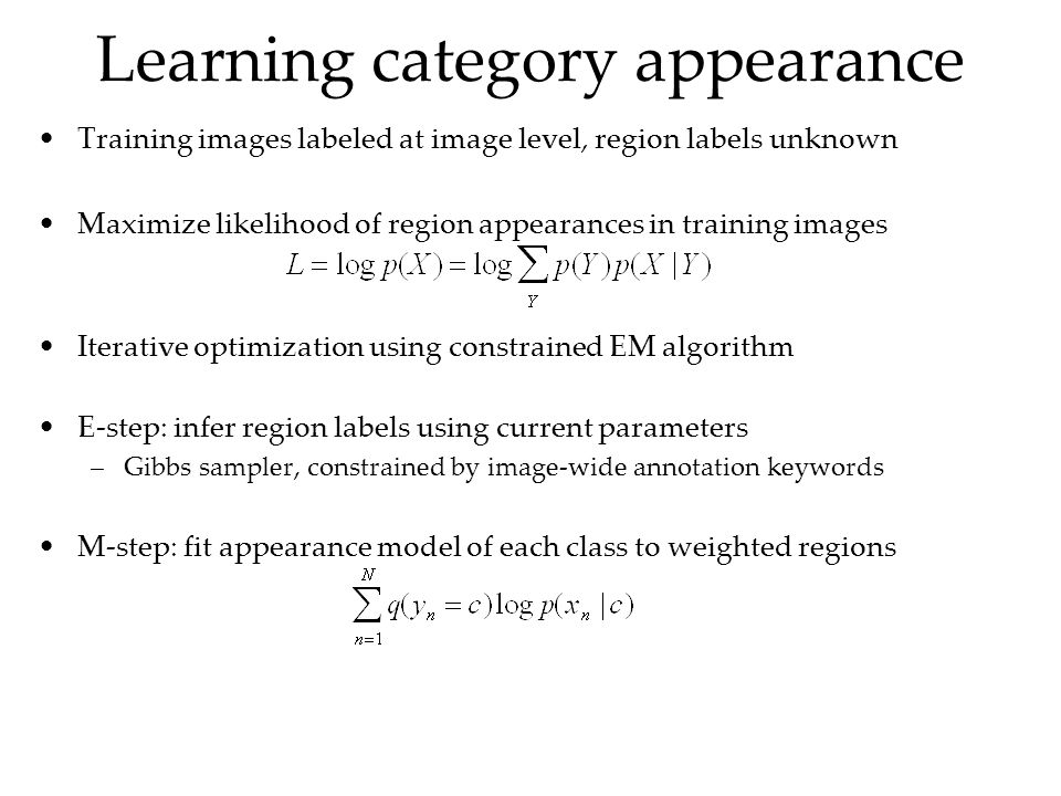 Learning category appearance Training images labeled at image level, region labels unknown Maximize likelihood of region appearances in training images Iterative optimization using constrained EM algorithm E-step: infer region labels using current parameters –Gibbs sampler, constrained by image-wide annotation keywords M-step: fit appearance model of each class to weighted regions