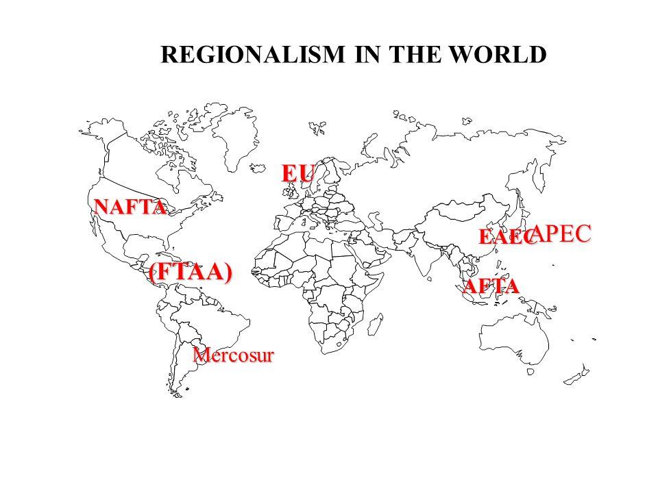 EU EAEC NAFTA APEC Mercosur REGIONALISM IN THE WORLD AFTA (FTAA)