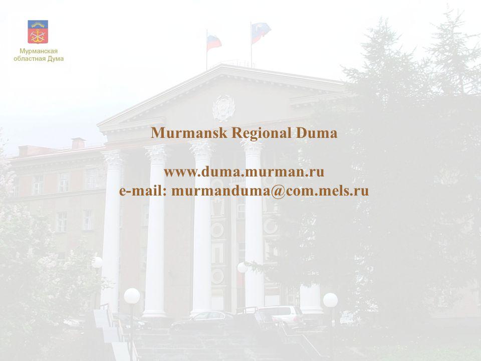 Murmansk Regional Duma www.duma.murman.ru e-mail: murmanduma@com.mels.ru