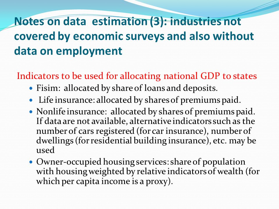 Notes on data estimation (3): industries not covered by economic surveys and also without data on employment Indicators to be used for allocating national GDP to states Fisim: allocated by share of loans and deposits.