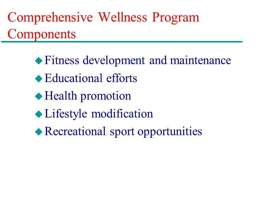 Comprehensive Wellness Program Components u Fitness development and maintenance u Educational efforts u Health promotion u Lifestyle modification u Re
