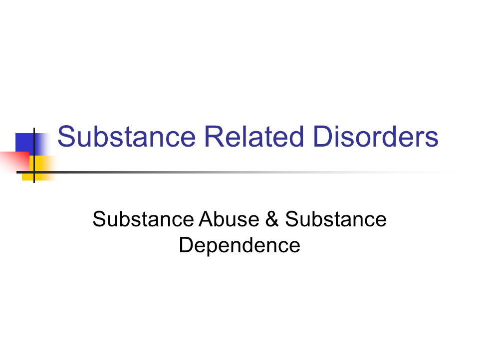 Substance~Related Disorders Like other psychiatric disorders, the criteria for diagnosis and associated features can be complex, and understanding substance~related disorders requires a great deal of scholarly interaction and clinical experience.