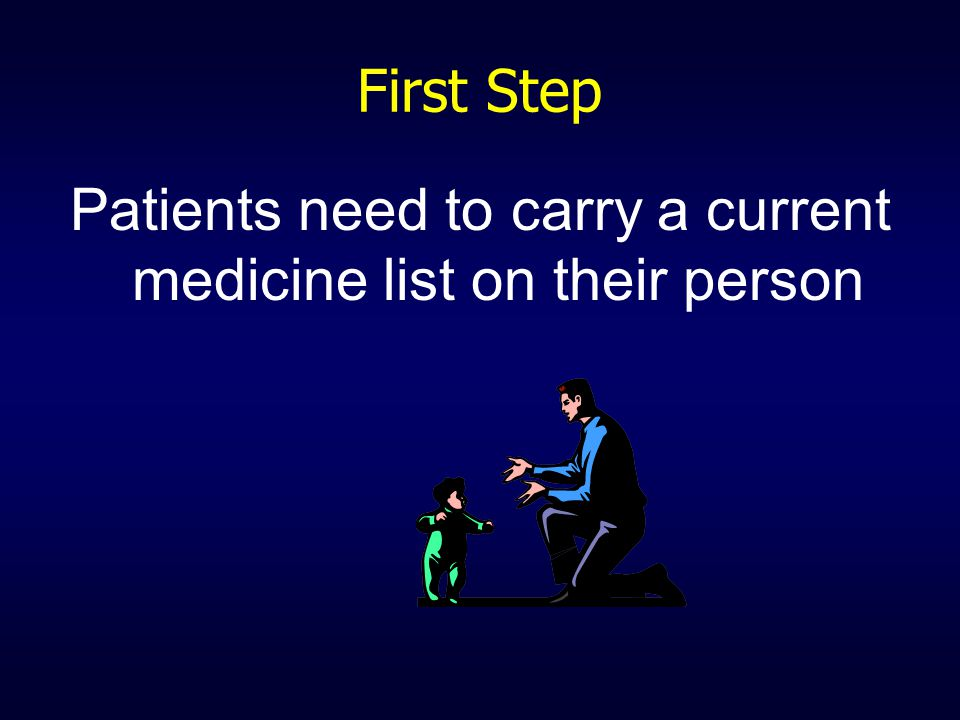 First Step Patients need to carry a current medicine list on their person