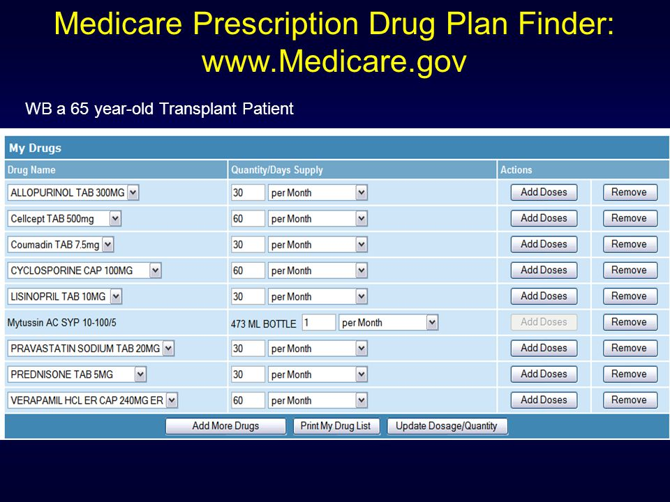 Medicare Prescription Drug Plan Finder: www.Medicare.gov WB a 65 year-old Transplant Patient