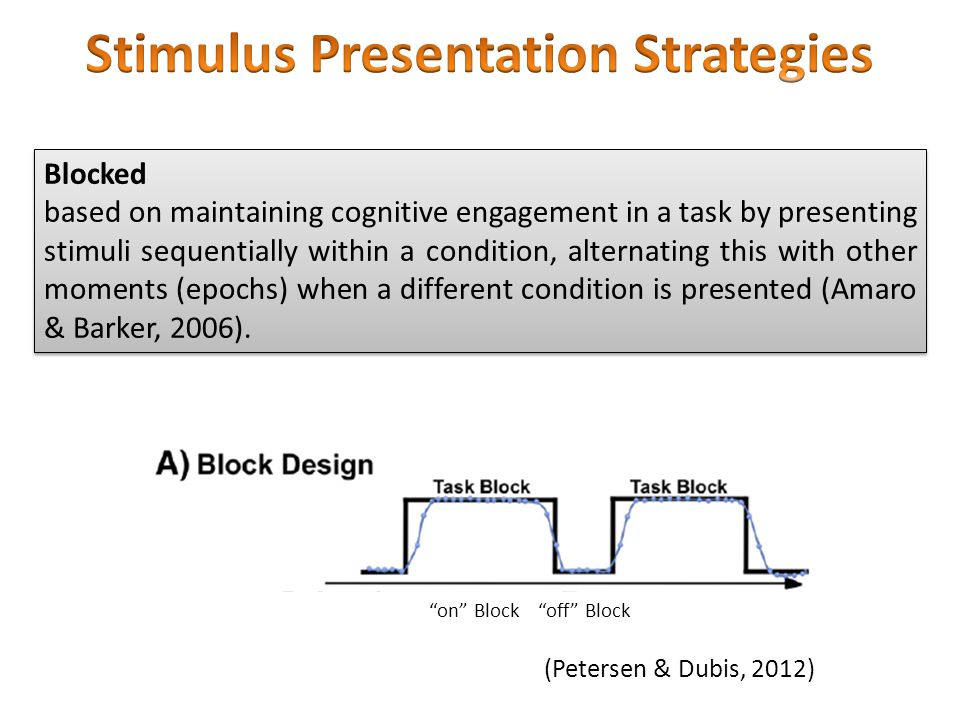 Blocked based on maintaining cognitive engagement in a task by presenting stimuli sequentially within a condition, alternating this with other moments