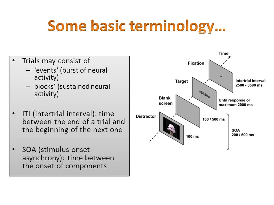 Trials may consist of – 'events' (burst of neural activity) – blocks' (sustained neural activity) ITI (intertrial interval): time between the end of a