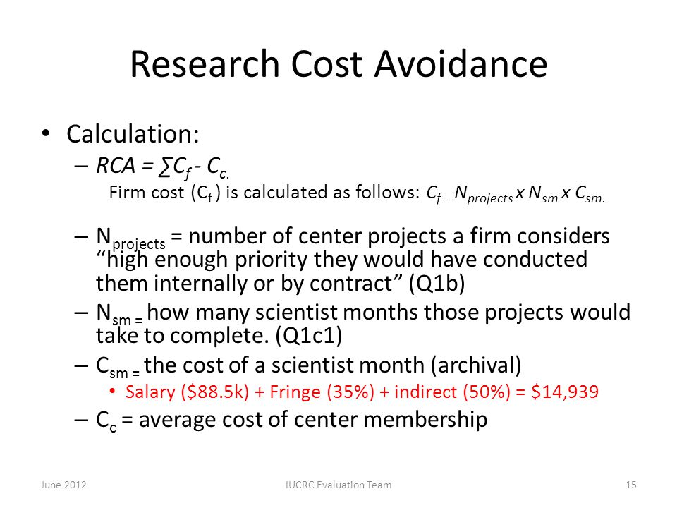 Research Cost Avoidance Calculation: – RCA = ∑C f - C c. Firm cost (C f ) is calculated as follows: C f = N projects x N sm x C sm. – N projects = num