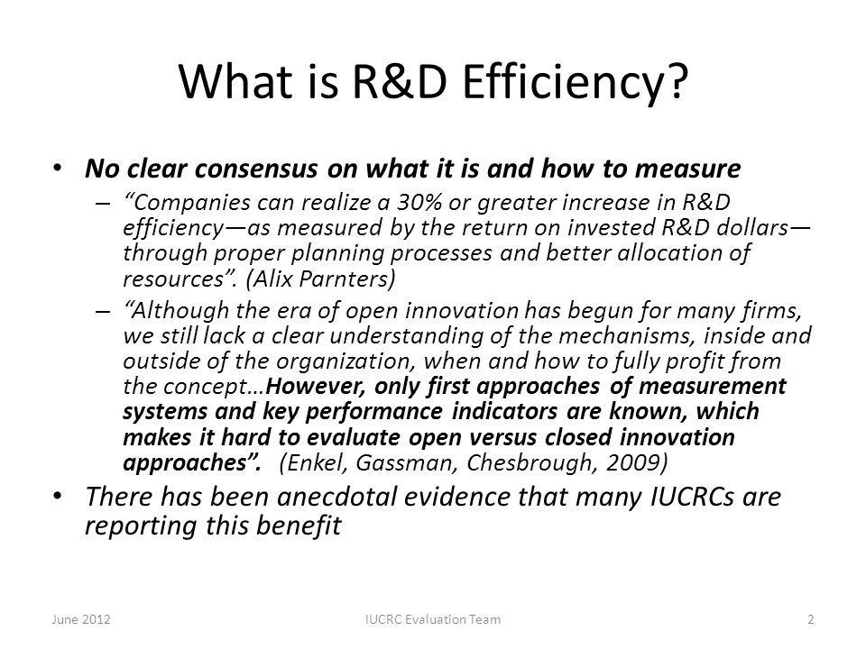 "What is R&D Efficiency? No clear consensus on what it is and how to measure – ""Companies can realize a 30% or greater increase in R&D efficiency—as me"