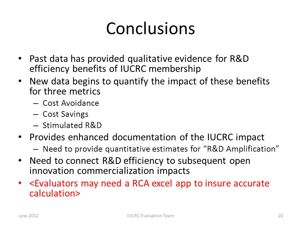 Conclusions Past data has provided qualitative evidence for R&D efficiency benefits of IUCRC membership New data begins to quantify the impact of thes