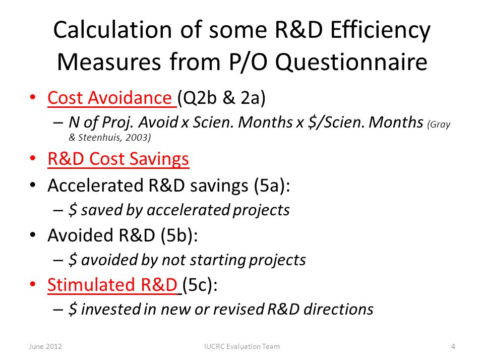 Calculation of some R&D Efficiency Measures from P/O Questionnaire Cost Avoidance (Q2b & 2a) – N of Proj. Avoid x Scien. Months x $/Scien. Months (Gra