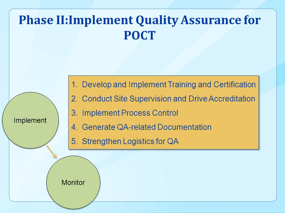 Phase II:Implement Quality Assurance for POCT 1.Develop and Implement Training and Certification 2.Conduct Site Supervision and Drive Accreditation 3.