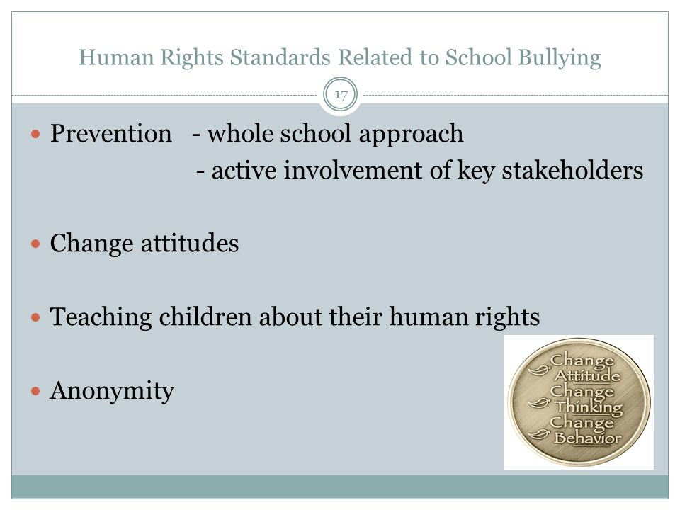 Human Rights Standards Related to School Bullying Prevention - whole school approach - active involvement of key stakeholders Change attitudes Teaching children about their human rights Anonymity 17