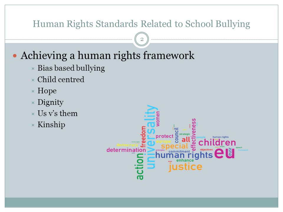 2 Achieving a human rights framework  Bias based bullying  Child centred  Hope  Dignity  Us v's them  Kinship