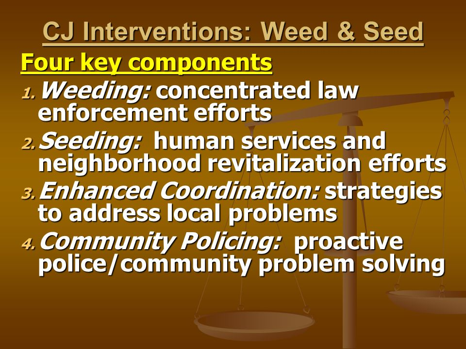 CJ Interventions: Weed & Seed Four key components 1. Weeding: concentrated law enforcement efforts 2. Seeding: human services and neighborhood revital