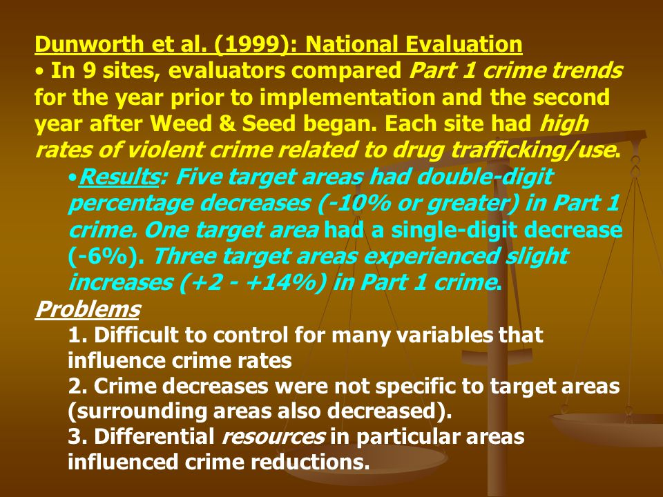 Dunworth et al. (1999): National Evaluation In 9 sites, evaluators compared Part 1 crime trends for the year prior to implementation and the second ye