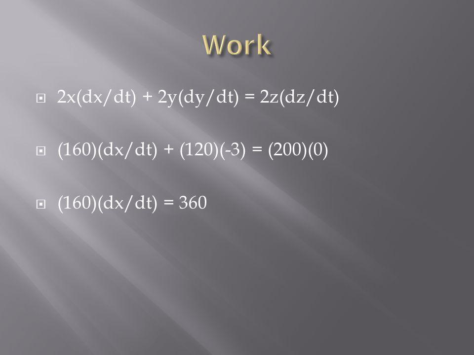  2x(dx/dt) + 2y(dy/dt) = 2z(dz/dt)  (160)(dx/dt) + (120)(-3) = (200)(0)  (160)(dx/dt) = 360