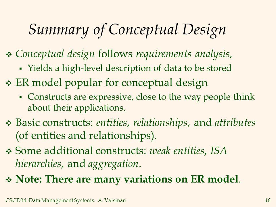 CSCD34- Data Management Systems. A. Vaisman18 Summary of Conceptual Design  Conceptual design follows requirements analysis,  Yields a high-level de