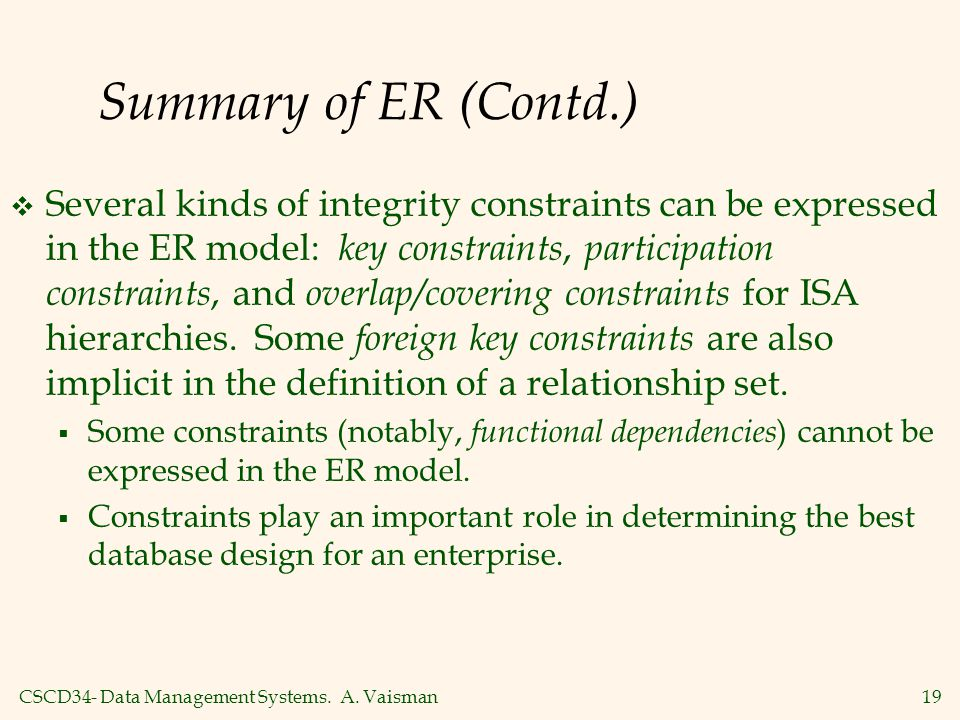 CSCD34- Data Management Systems. A. Vaisman19 Summary of ER (Contd.)  Several kinds of integrity constraints can be expressed in the ER model: key co