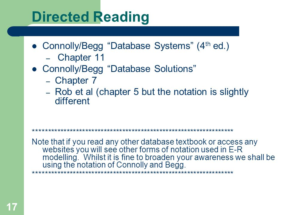"""17 Directed Reading Connolly/Begg """"Database Systems"""" (4 th ed.) – Chapter 11 Connolly/Begg """"Database Solutions"""" – Chapter 7 – Rob et al (chapter 5 but"""