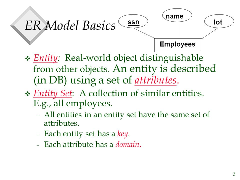 3 ER Model Basics v Entity: Real-world object distinguishable from other objects. An entity is described (in DB) using a set of attributes. v Entity S