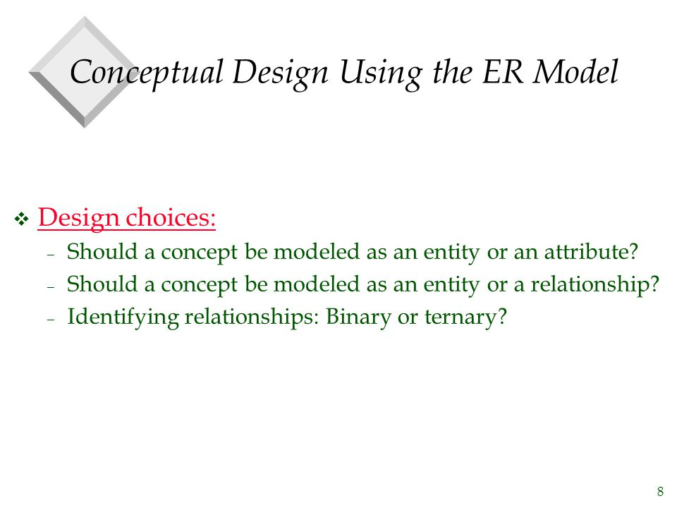 8 Conceptual Design Using the ER Model v Design choices: – Should a concept be modeled as an entity or an attribute.