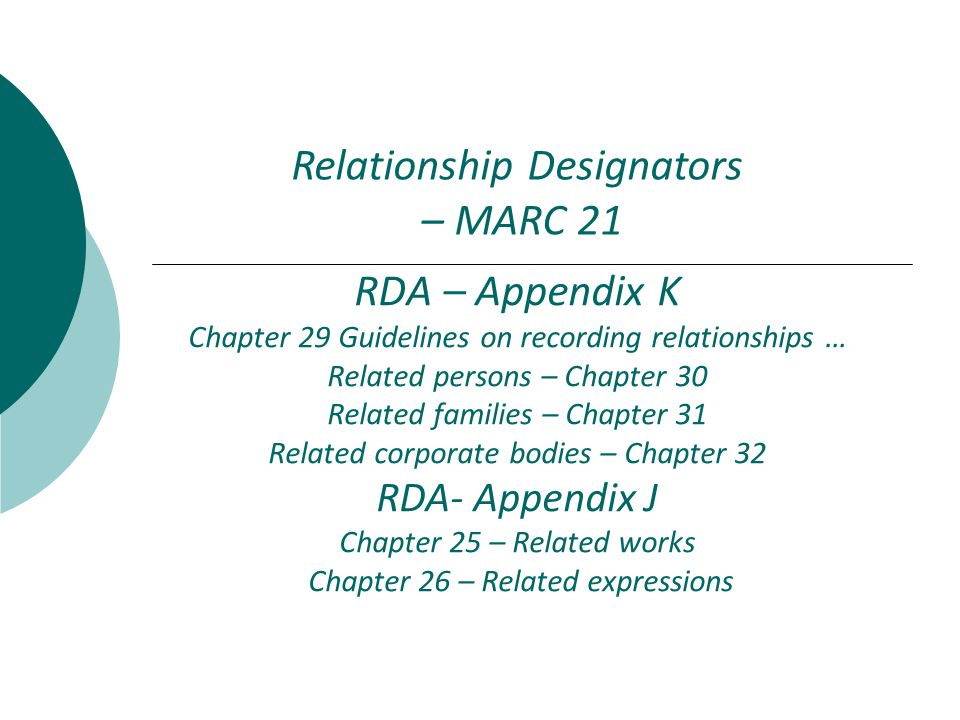 Relationship Designators – Overview  Appendix I  Relates Persons, Families, and Corporate bodies to Works, Expressions, and Manifestations  Used in only bibliographic records  Appendix J  Relates Works, Expressions, and Manifestations to Works, Expressions, and Manifestations  Used in both bibliographic and authority records (formerly known as see-alsos )  Appendix K  Relates Persons, Families, and Corporate bodies to Persons, Families, and Corporate bodies  Used only in authority records ( formerly known as see-alsos )