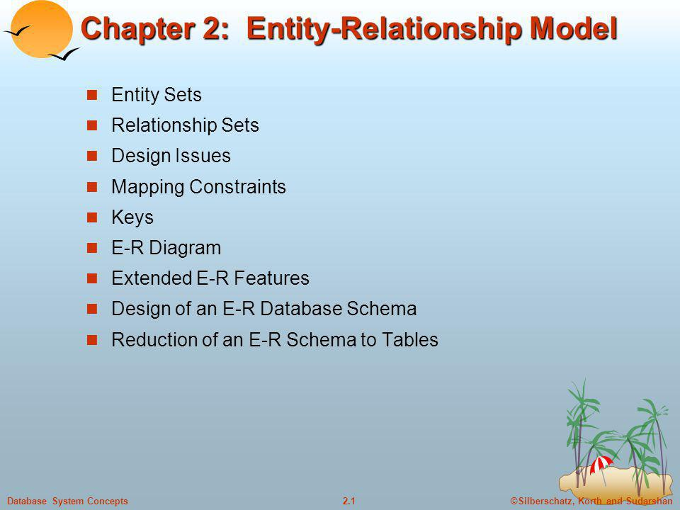 ©Silberschatz, Korth and Sudarshan2.1Database System Concepts Chapter 2: Entity-Relationship Model Entity Sets Relationship Sets Design Issues Mapping