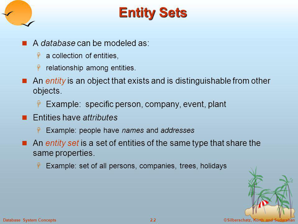©Silberschatz, Korth and Sudarshan2.33Database System Concepts Weak Entity Sets An entity set that does not have a primary key is referred to as a weak entity set.