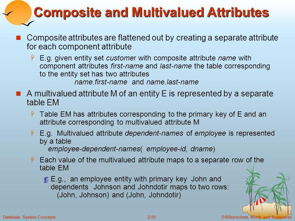 ©Silberschatz, Korth and Sudarshan2.59Database System Concepts Composite and Multivalued Attributes Composite attributes are flattened out by creating